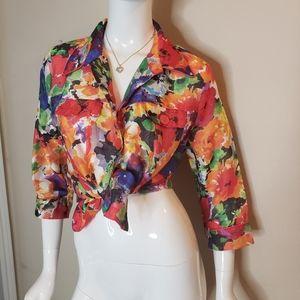 Vintage linen rainbow floral semi sheer button top